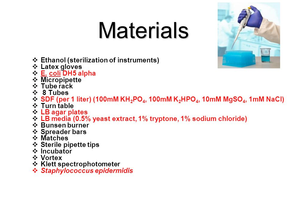 Materials  Ethanol (sterilization of instruments)  Latex gloves  E.