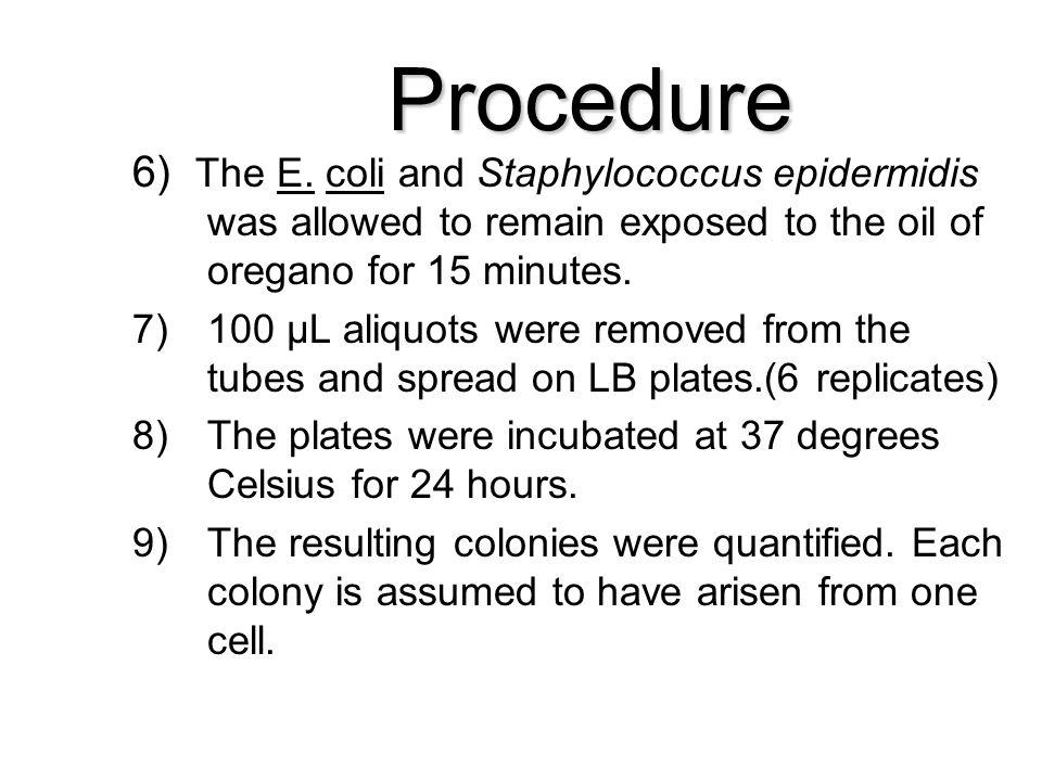 Procedure 6) The E.