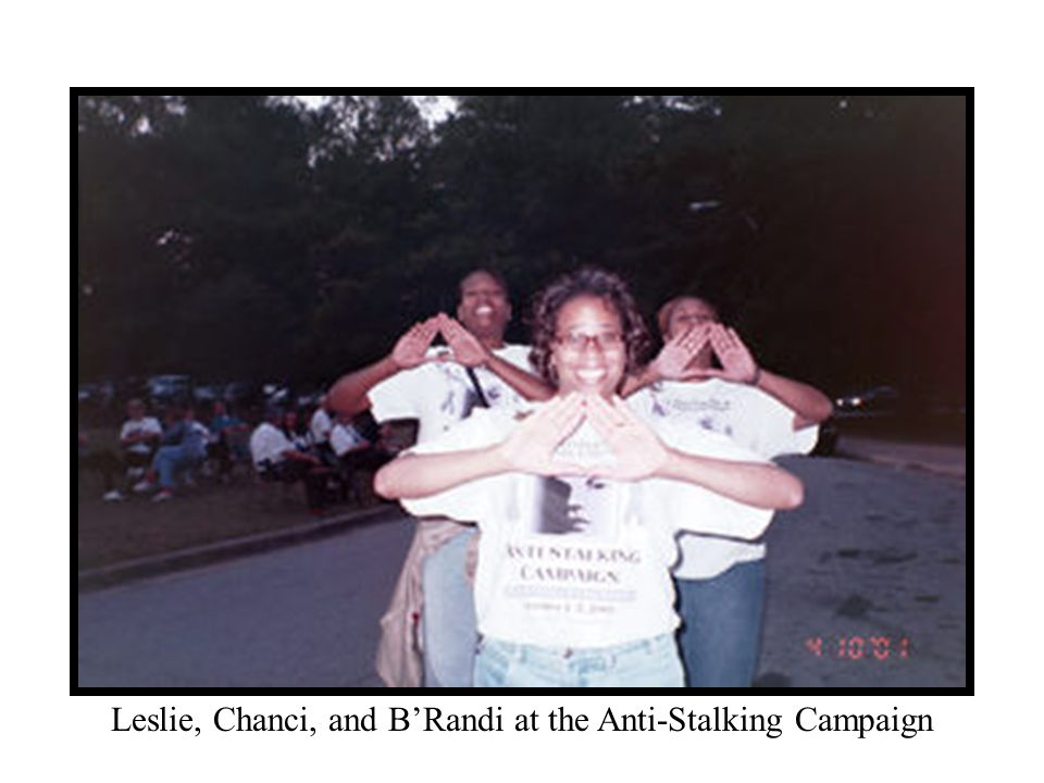 Leslie, Chanci, and B'Randi at the Anti-Stalking Campaign
