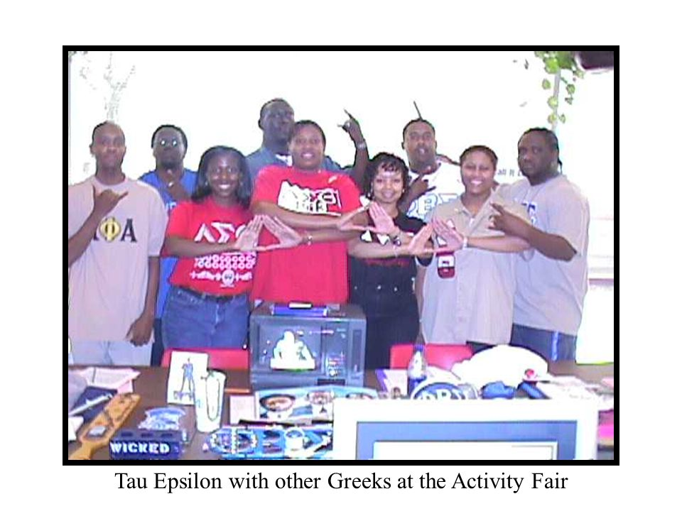 Tau Epsilon with other Greeks at the Activity Fair