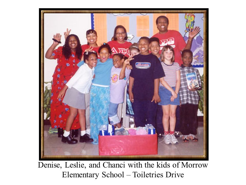 Denise, Leslie, and Chanci with the kids of Morrow Elementary School – Toiletries Drive