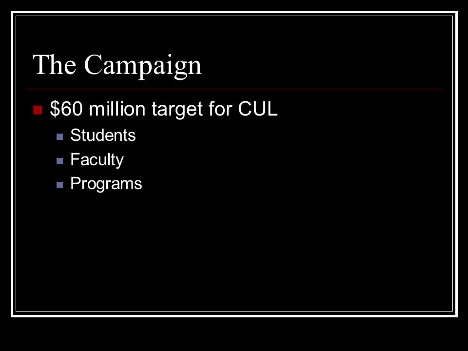 The Campaign $60 million target for CUL Students Faculty Programs
