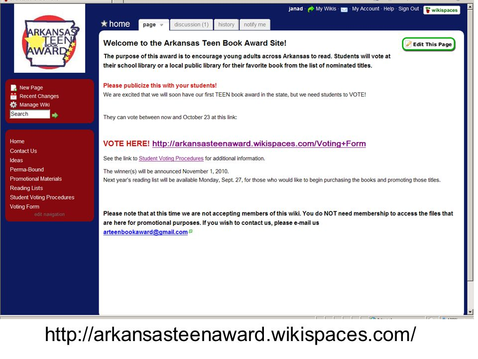http://arkansasteenaward.wikispaces.com/
