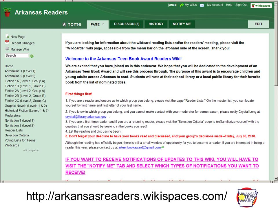 http://arkansasreaders.wikispaces.com/