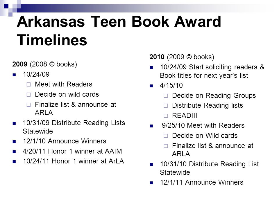 Arkansas Teen Book Award Timelines 2009 (2008 © books) 10/24/09  Meet with Readers  Decide on wild cards  Finalize list & announce at ARLA 10/31/09 Distribute Reading Lists Statewide 12/1/10 Announce Winners 4/20/11 Honor 1 winner at AAIM 10/24/11 Honor 1 winner at ArLA 2010 (2009 © books) 10/24/09 Start soliciting readers & Book titles for next year's list 4/15/10  Decide on Reading Groups  Distribute Reading lists  READ!!.