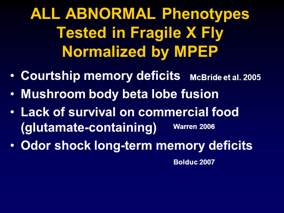 ALL ABNORMAL Phenotypes Tested in Fragile X Fly Normalized by MPEP Courtship memory deficits Mushroom body beta lobe fusion Lack of survival on commercial food (glutamate-containing) Odor shock long-term memory deficits McBride et al.