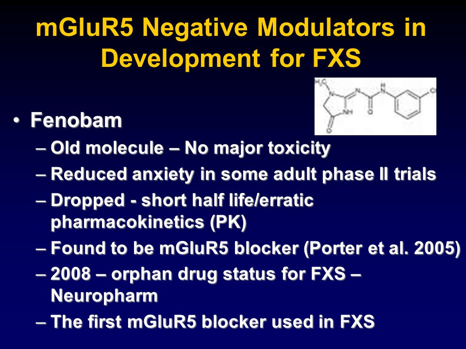 mGluR5 Negative Modulators in Development for FXS FenobamFenobam –Old molecule – No major toxicity –Reduced anxiety in some adult phase II trials –Dro