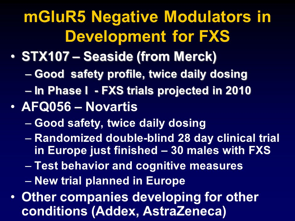 mGluR5 Negative Modulators in Development for FXS STX107 – Seaside (from Merck)STX107 – Seaside (from Merck) –Good safety profile, twice daily dosing –In Phase I - FXS trials projected in 2010 AFQ056 – Novartis – –Good safety, twice daily dosing – –Randomized double-blind 28 day clinical trial in Europe just finished – 30 males with FXS – –Test behavior and cognitive measures – –New trial planned in Europe Other companies developing for other conditions (Addex, AstraZeneca)