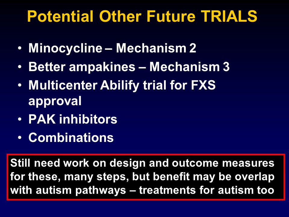 Potential Other Future TRIALS Minocycline – Mechanism 2 Better ampakines – Mechanism 3 Multicenter Abilify trial for FXS approval PAK inhibitors Combinations Still need work on design and outcome measures for these, many steps, but benefit may be overlap with autism pathways – treatments for autism too