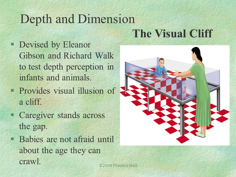 ©2006 Prentice Hall §Devised by Eleanor Gibson and Richard Walk to test depth perception in infants and animals. §Provides visual illusion of a cliff.