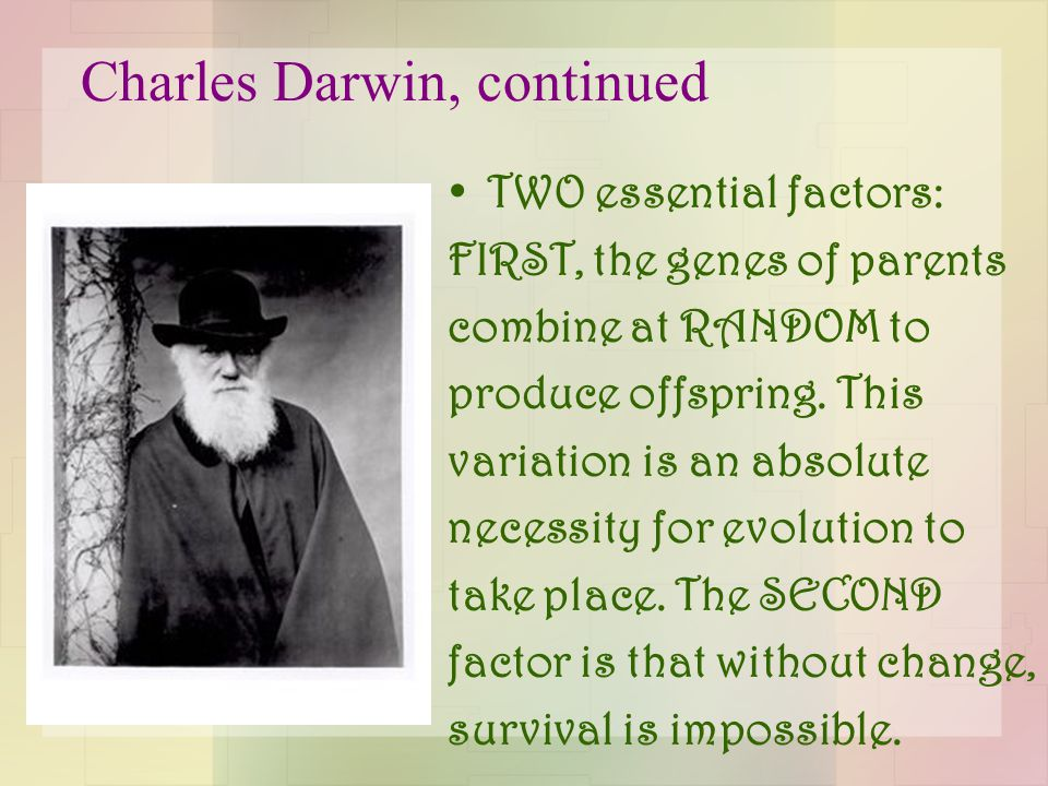 Charles Darwin, continued TWO essential factors: FIRST, the genes of parents combine at RANDOM to produce offspring. This variation is an absolute nec
