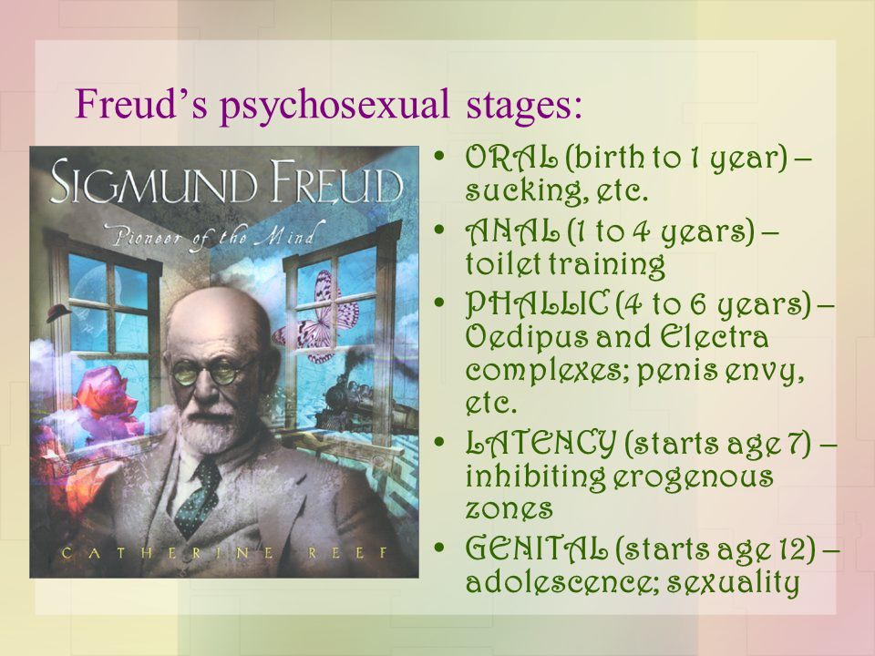 Freud's psychosexual stages: ORAL (birth to 1 year) – sucking, etc.