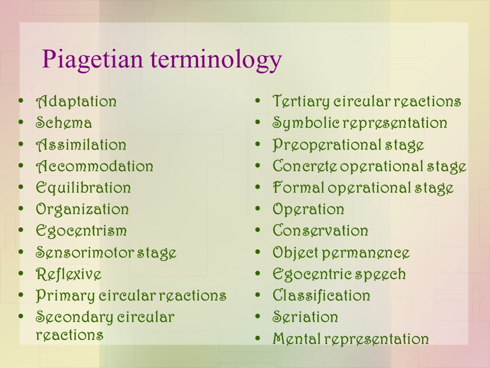 Piagetian terminology Adaptation Schema Assimilation Accommodation Equilibration Organization Egocentrism Sensorimotor stage Reflexive Primary circular reactions Secondary circular reactions Tertiary circular reactions Symbolic representation Preoperational stage Concrete operational stage Formal operational stage Operation Conservation Object permanence Egocentric speech Classification Seriation Mental representation