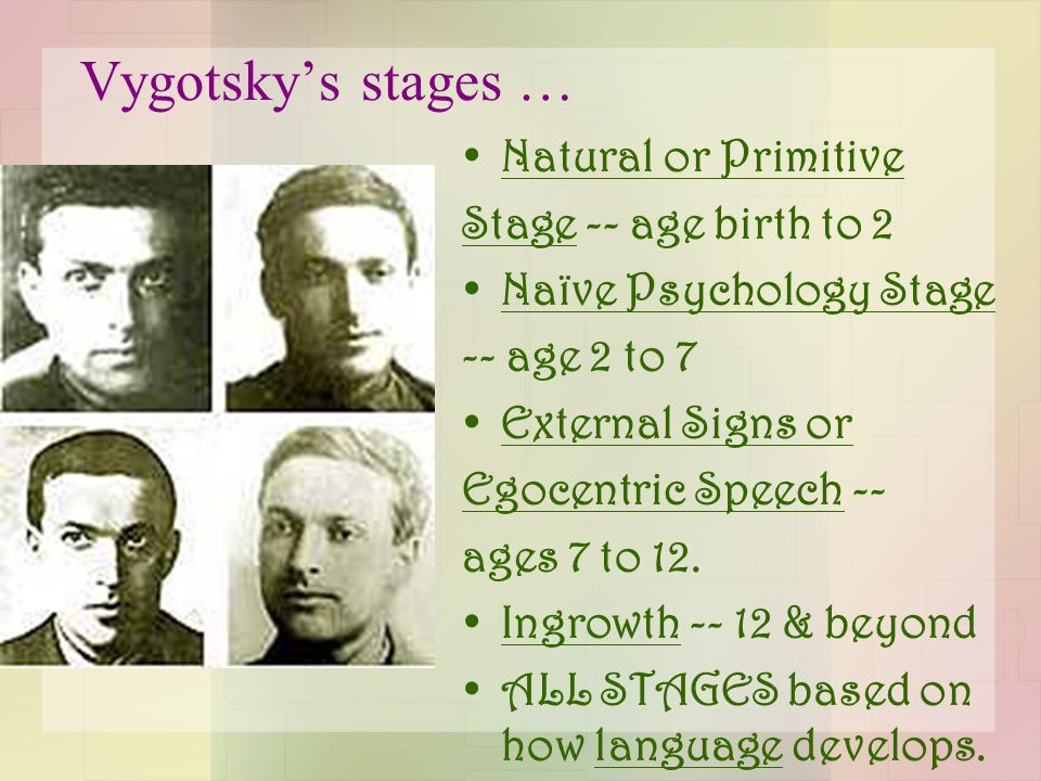 Vygotsky's stages … Natural or Primitive Stage -- age birth to 2 Naïve Psychology Stage -- age 2 to 7 External Signs or Egocentric Speech -- ages 7 to 12.