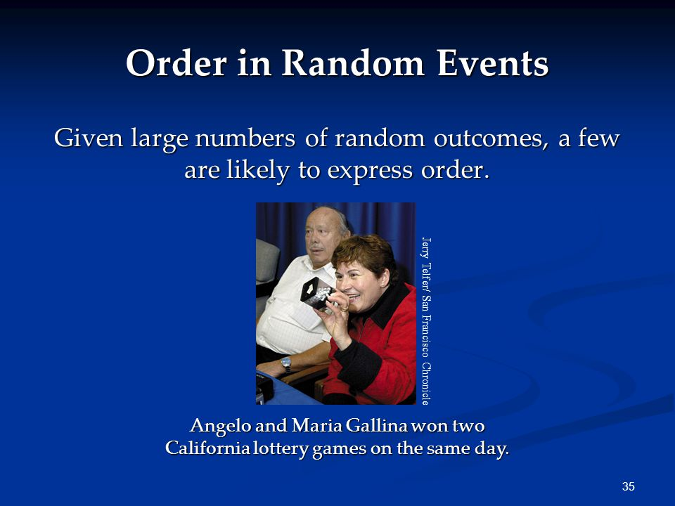 35 Order in Random Events Given large numbers of random outcomes, a few are likely to express order.