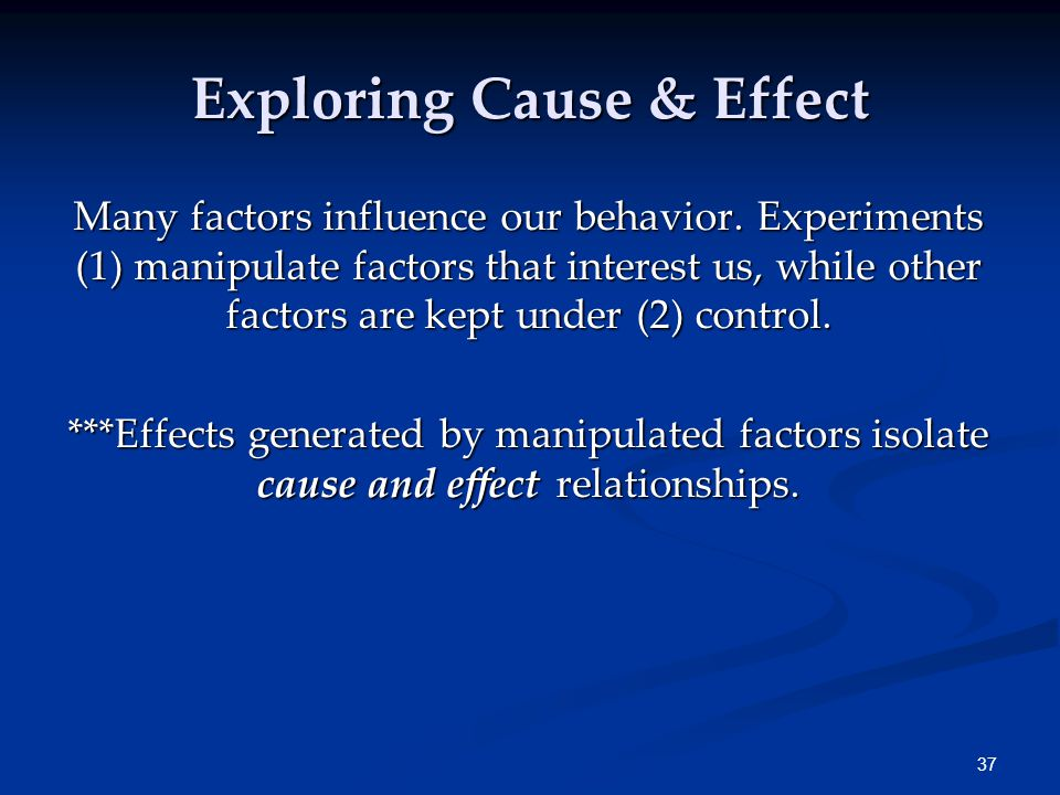 37 Many factors influence our behavior.