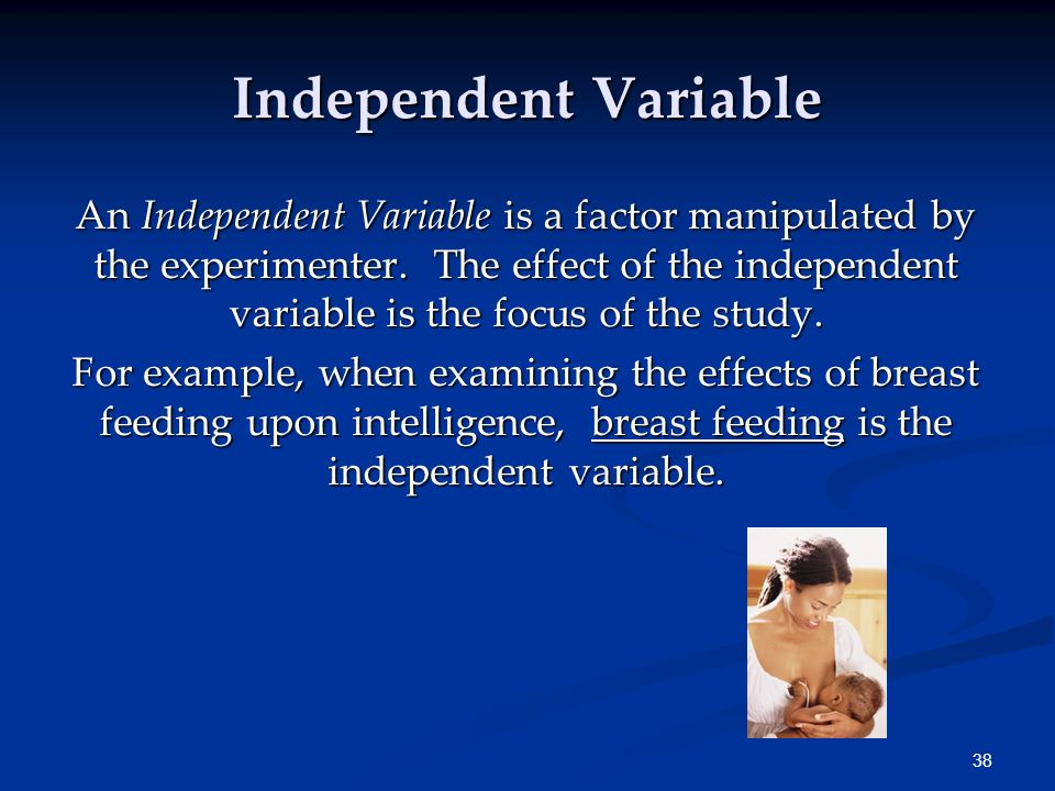 38 An Independent Variable is a factor manipulated by the experimenter.