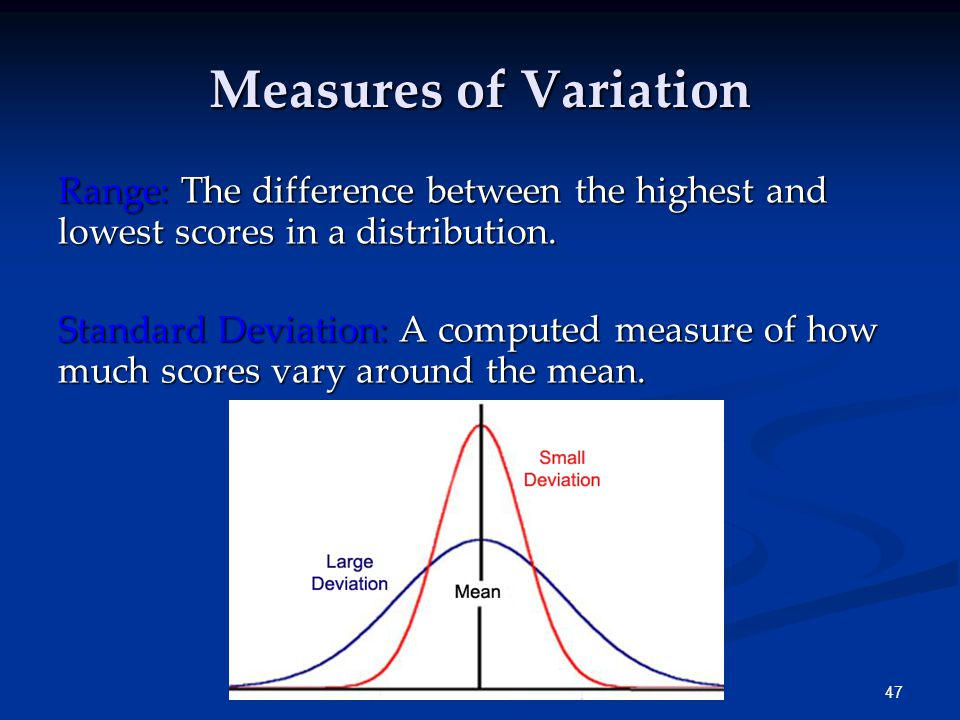 47 Measures of Variation Range: The difference between the highest and lowest scores in a distribution.