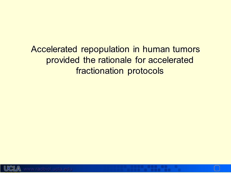 www.radbiol.ucla.edu Accelerated Tumor Repopulation Onset may be about day 21. Repopulation may not be constant and may increase from 0.6 Gy / day aro