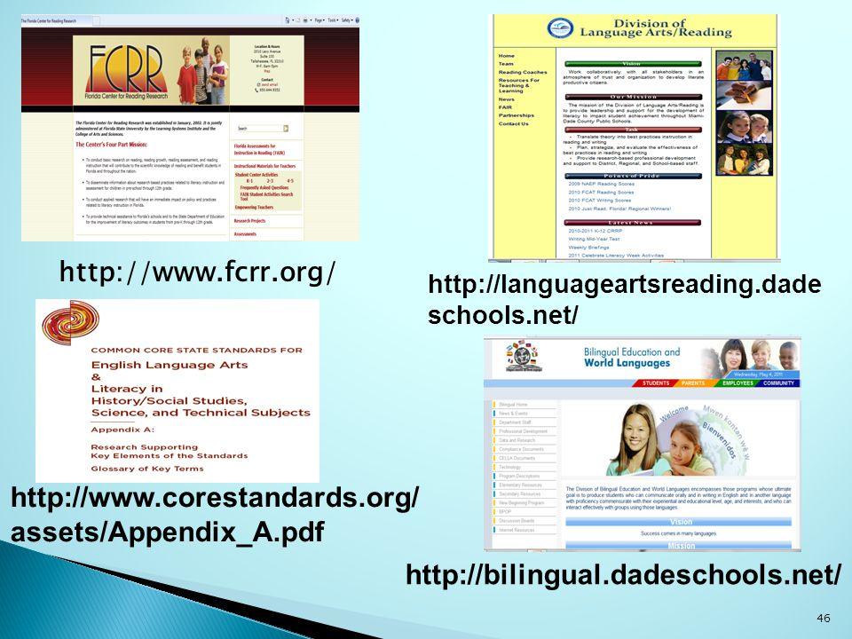 http://www.fcrr.org/ http://www.corestandards.org/ assets/Appendix_A.pdf http://bilingual.dadeschools.net/ http://languageartsreading.dade schools.net/ 46