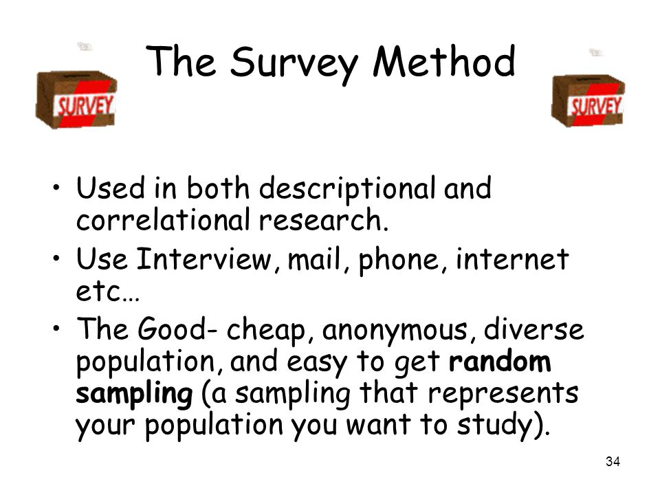 34 The Survey Method Used in both descriptional and correlational research.