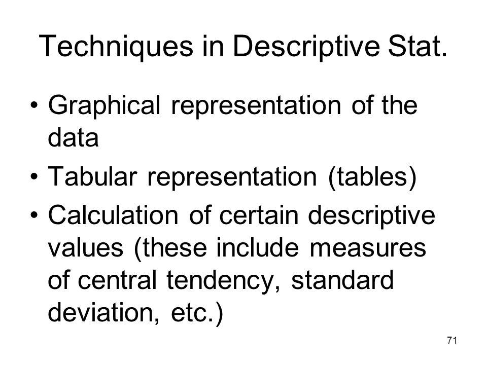 71 Techniques in Descriptive Stat. Graphical representation of the data Tabular representation (tables) Calculation of certain descriptive values (the