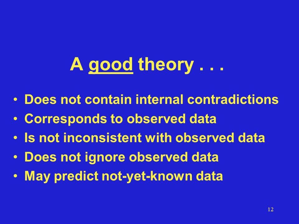 12 A good theory...