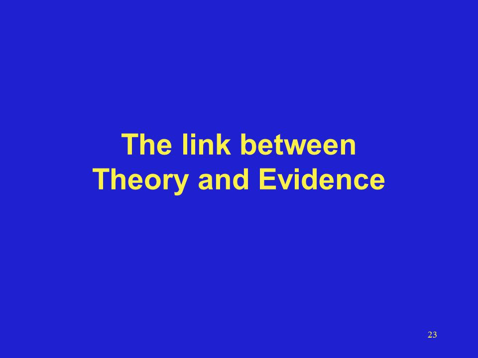 23 The link between Theory and Evidence