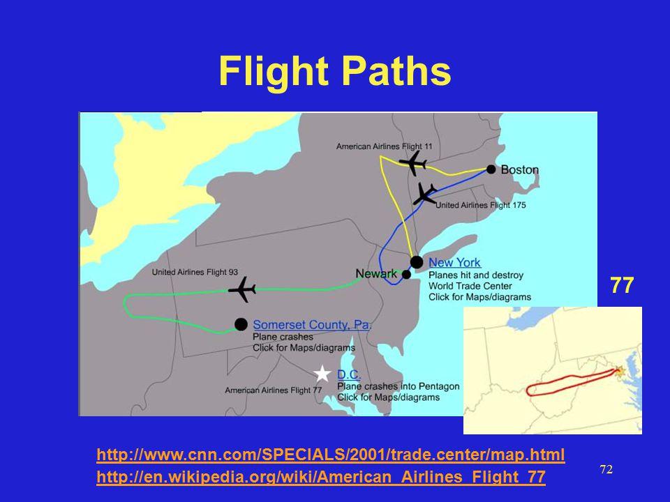 72 Flight Paths http://www.cnn.com/SPECIALS/2001/trade.center/map.html 77 http://en.wikipedia.org/wiki/American_Airlines_Flight_77