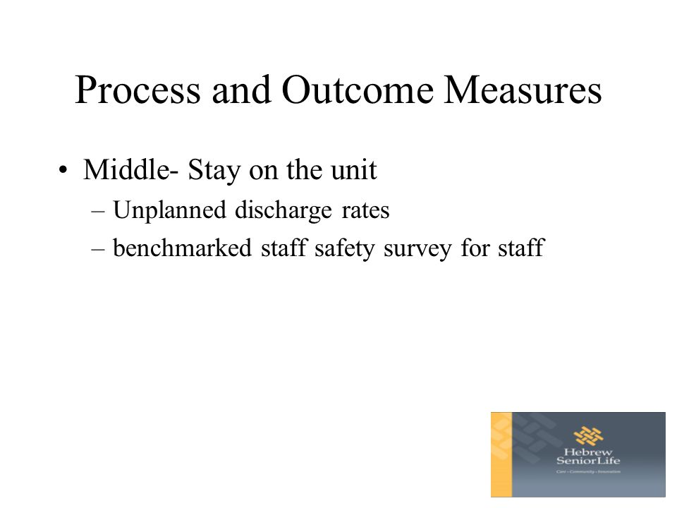 Process and Outcome Measures Middle- Stay on the unit –Unplanned discharge rates –benchmarked staff safety survey for staff
