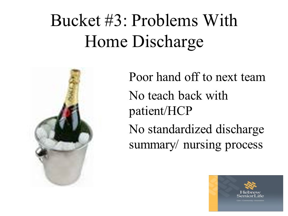 Bucket #3: Problems With Home Discharge Poor hand off to next team No teach back with patient/HCP No standardized discharge summary/ nursing process