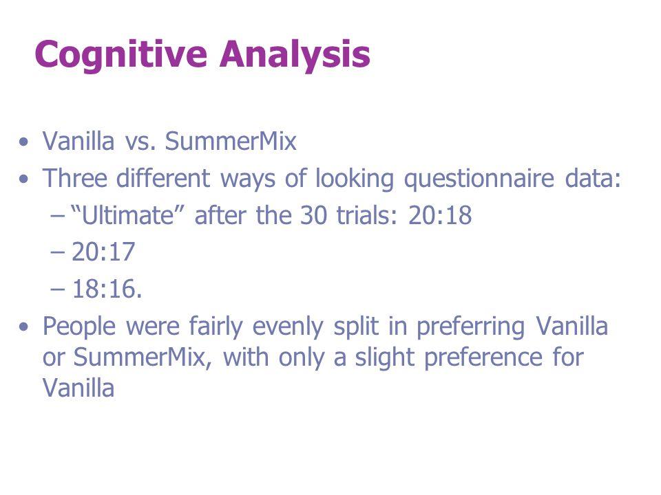 Cognitive Analysis Vanilla vs.