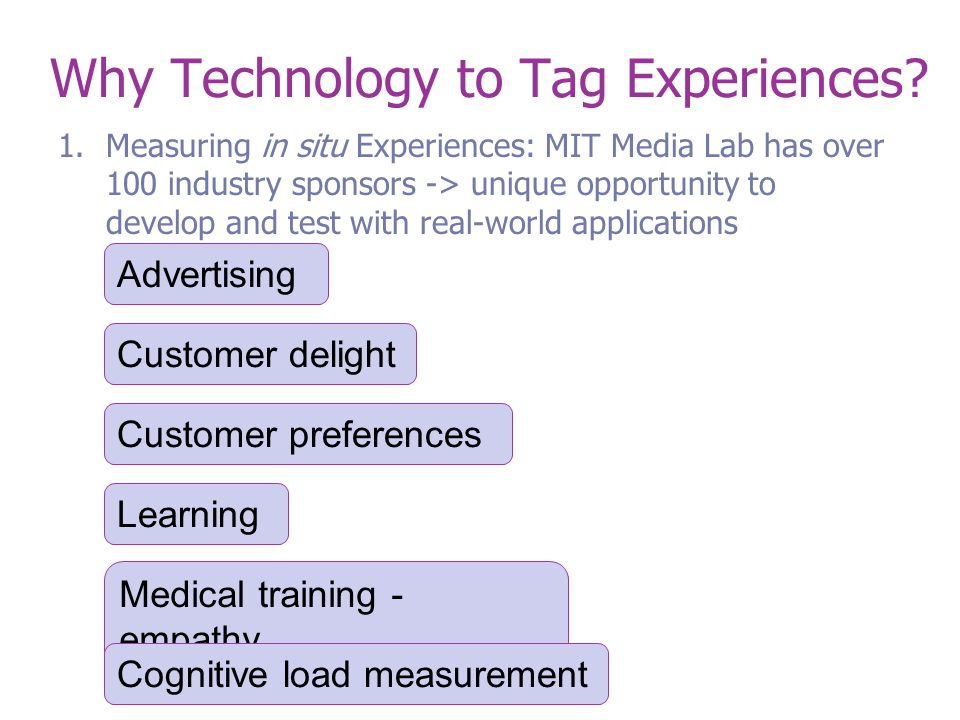 Why Technology to Tag Experiences.