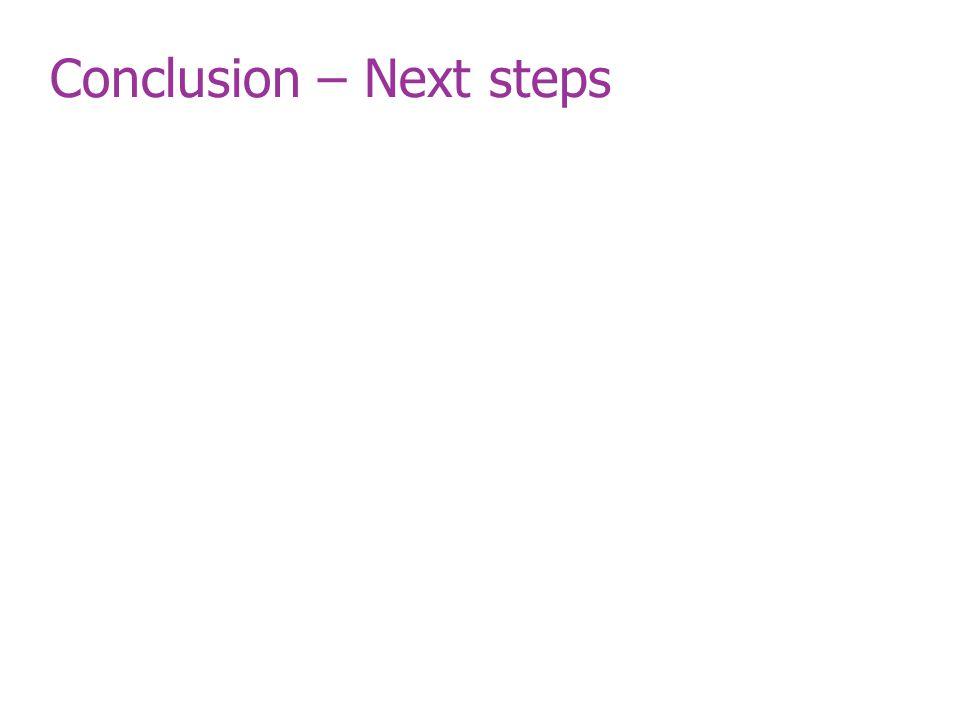 Conclusion – Next steps