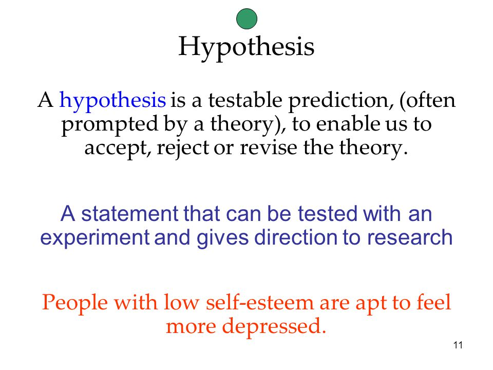 11 A hypothesis is a testable prediction, (often prompted by a theory), to enable us to accept, reject or revise the theory.