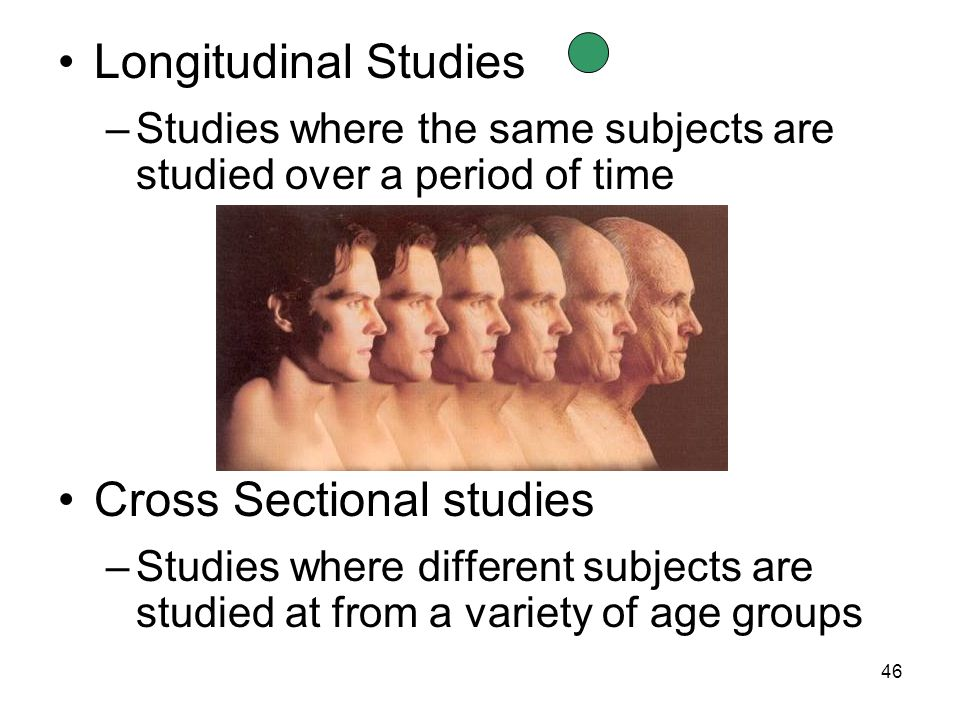 46 Longitudinal Studies –Studies where the same subjects are studied over a period of time Cross Sectional studies –Studies where different subjects are studied at from a variety of age groups