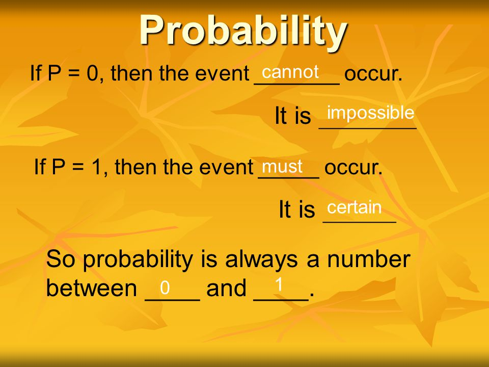 All of the probabilities must add up to 100% or 1.0 in decimal form.