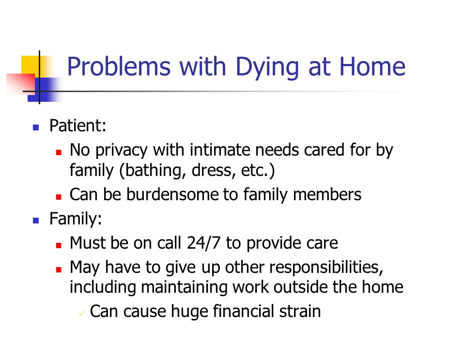 Problems with Dying at Home Patient: No privacy with intimate needs cared for by family (bathing, dress, etc.) Can be burdensome to family members Fam