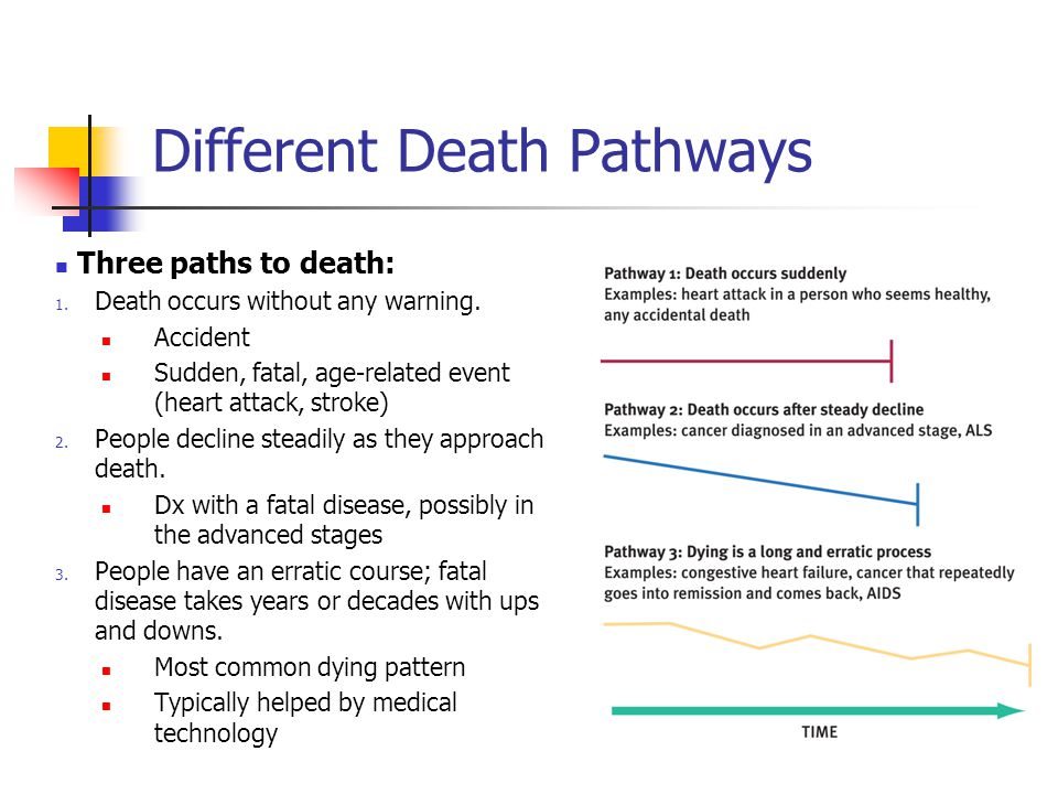 Different Death Pathways Three paths to death: 1. Death occurs without any warning. Accident Sudden, fatal, age-related event (heart attack, stroke) 2