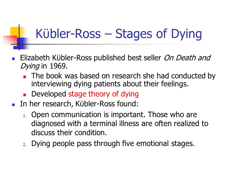 Kϋbler-Ross – Stages of Dying Elizabeth Kϋbler-Ross published best seller On Death and Dying in 1969. The book was based on research she had conducted