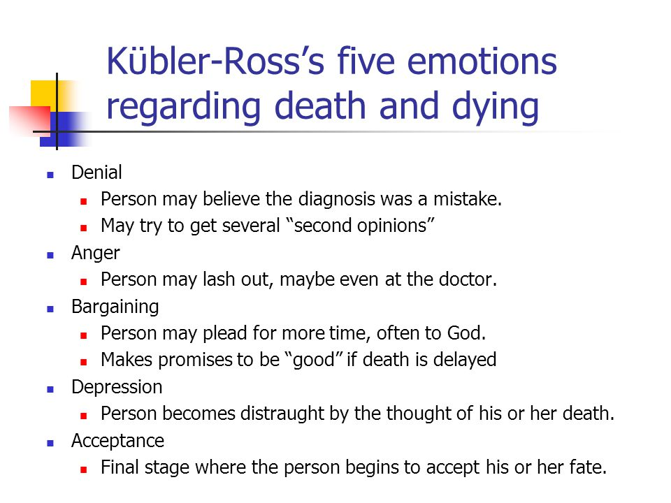 """Kϋbler-Ross's five emotions regarding death and dying Denial Person may believe the diagnosis was a mistake. May try to get several """"second opinions"""""""