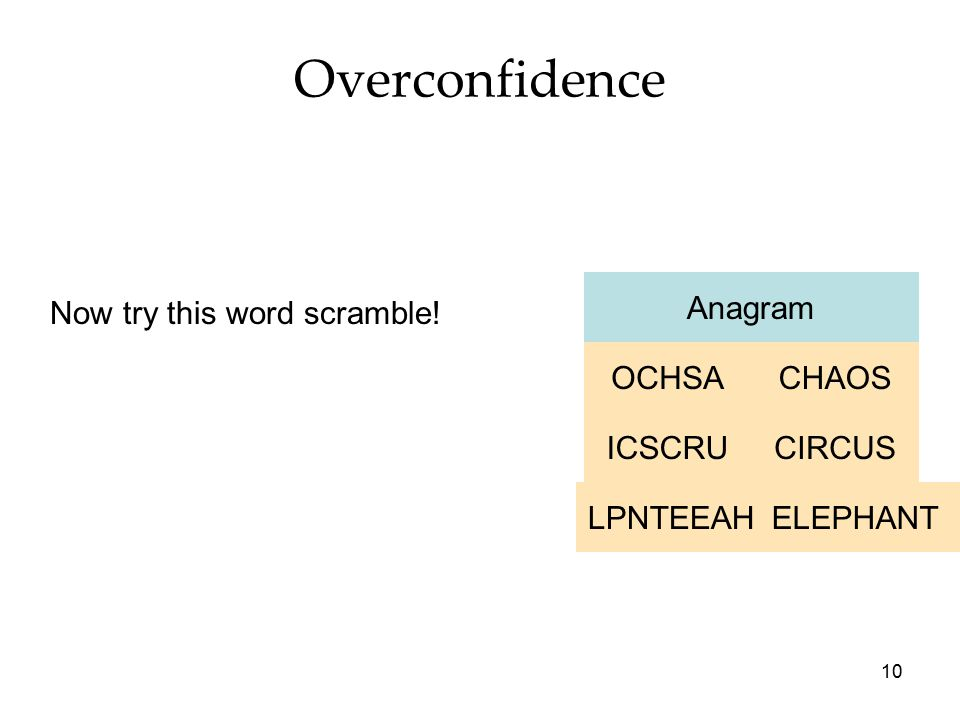 10 Overconfidence Anagram ELEPHANTLPNTEEAH CIRCUSICSCRU CHAOSOCHSA Now try this word scramble!