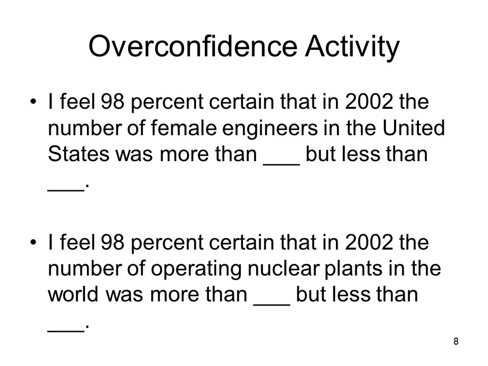 Overconfidence Activity I feel 98 percent certain that in 2002 the number of female engineers in the United States was more than ___ but less than ___.
