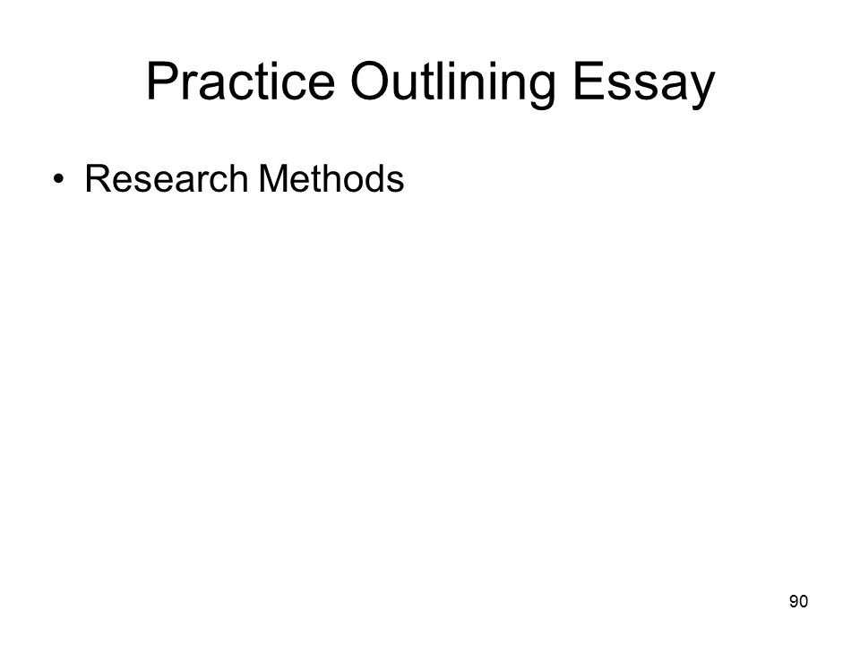 90 Practice Outlining Essay Research Methods