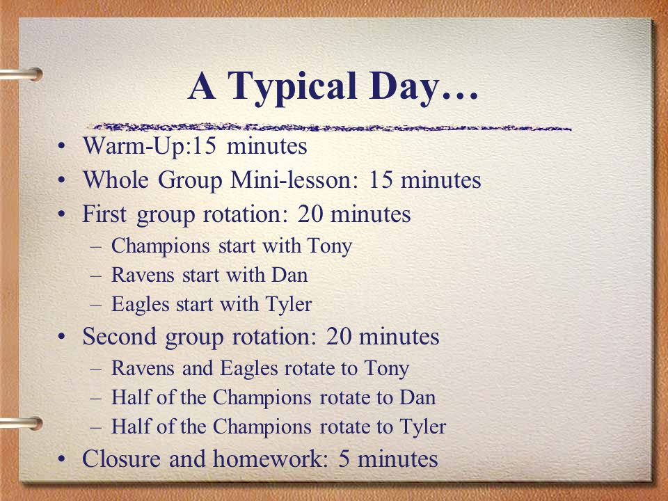 A Typical Day… Warm-Up:15 minutes Whole Group Mini-lesson: 15 minutes First group rotation: 20 minutes –Champions start with Tony –Ravens start with Dan –Eagles start with Tyler Second group rotation: 20 minutes –Ravens and Eagles rotate to Tony –Half of the Champions rotate to Dan –Half of the Champions rotate to Tyler Closure and homework: 5 minutes