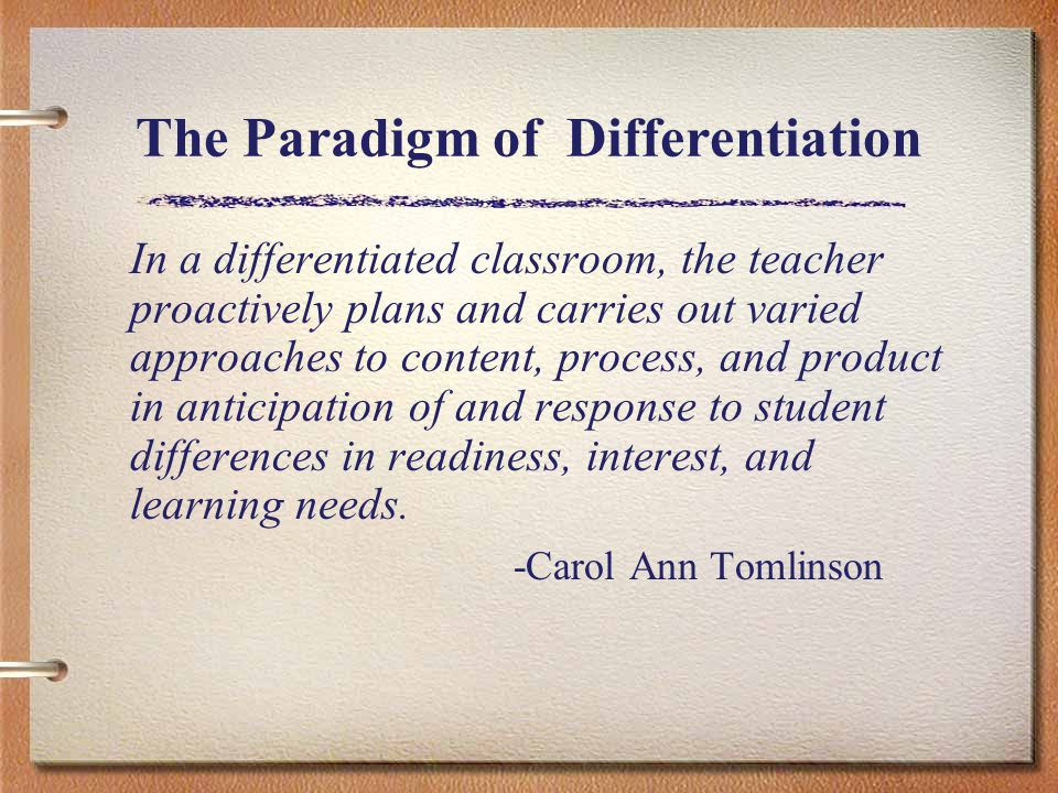 In a differentiated classroom, the teacher proactively plans and carries out varied approaches to content, process, and product in anticipation of and