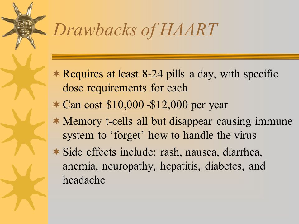 Drawbacks of HAART  Requires at least 8-24 pills a day, with specific dose requirements for each  Can cost $10,000 -$12,000 per year  Memory t-cell