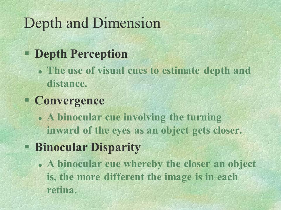 §Depth Perception l The use of visual cues to estimate depth and distance. §Convergence l A binocular cue involving the turning inward of the eyes as