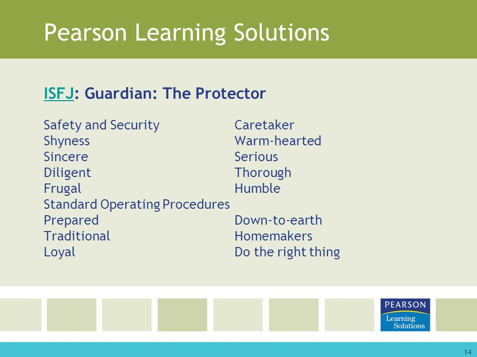 14 Pearson Learning Solutions ISFJISFJ: Guardian: The Protector Safety and SecurityCaretaker ShynessWarm-hearted SincereSerious DiligentThorough FrugalHumble Standard Operating Procedures PreparedDown-to-earth TraditionalHomemakers LoyalDo the right thing