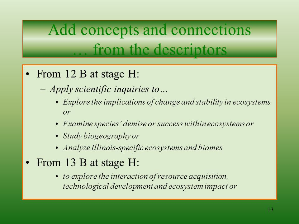 12 From 11 A at stage H: –Formulate an issue-specific hypothesis… –Design scientific issue investigation which addresses proposed hypothesis… –Conduct issue investigation… –Interpret and represent analysis of results… –Report, display and defend the process and findings of issue investigation….